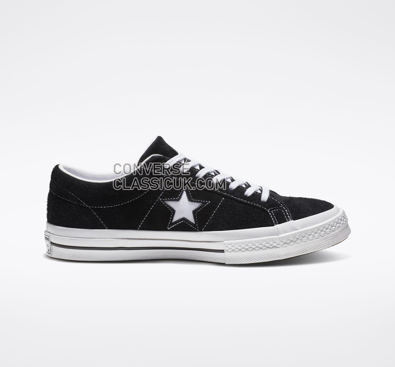 Converse One Star Vintage Suede Low Top Mens Womens Unisex 158369C Black/White/White Shoes
