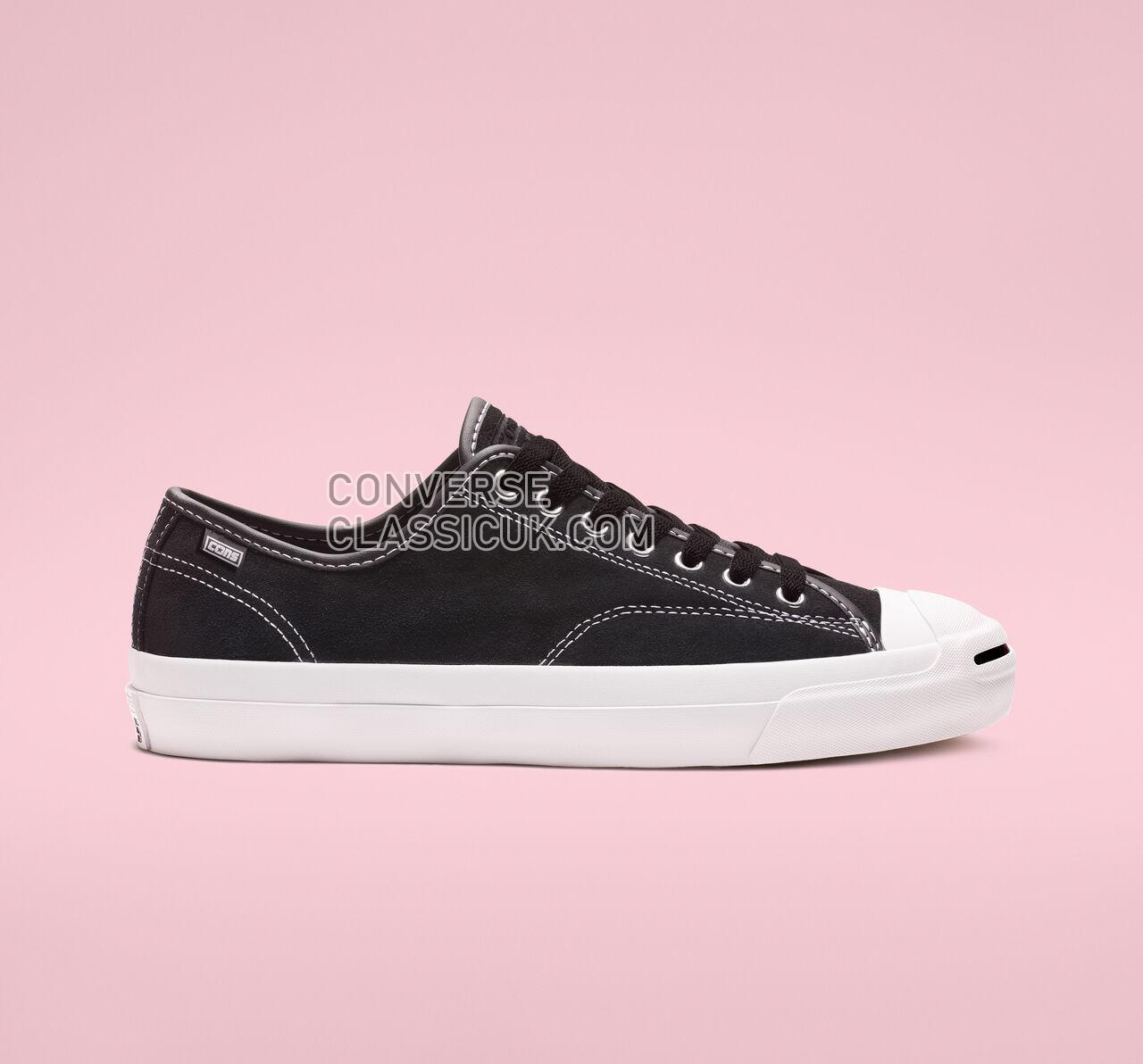 Converse Jack Purcell Pro Suede Low Top Mens Womens Unisex 159508C Black/Black/White Shoes