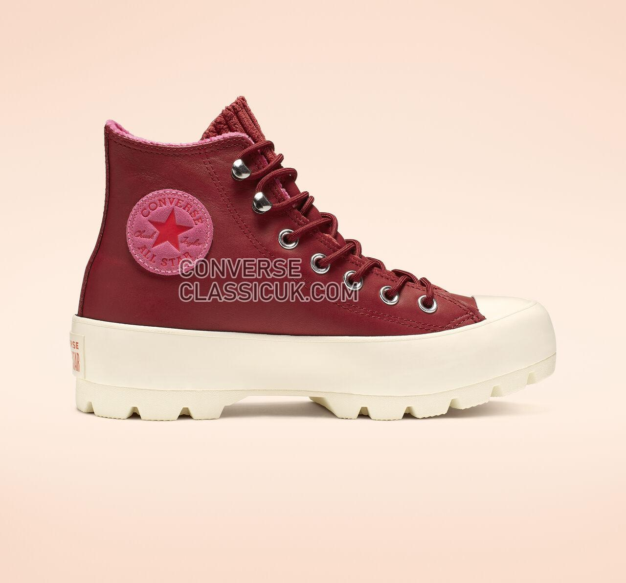 Converse Chuck Taylor All Star Lugged Waterproof Leather High Top Womens 565007C Back Alley Brick/Habanero Red Shoes