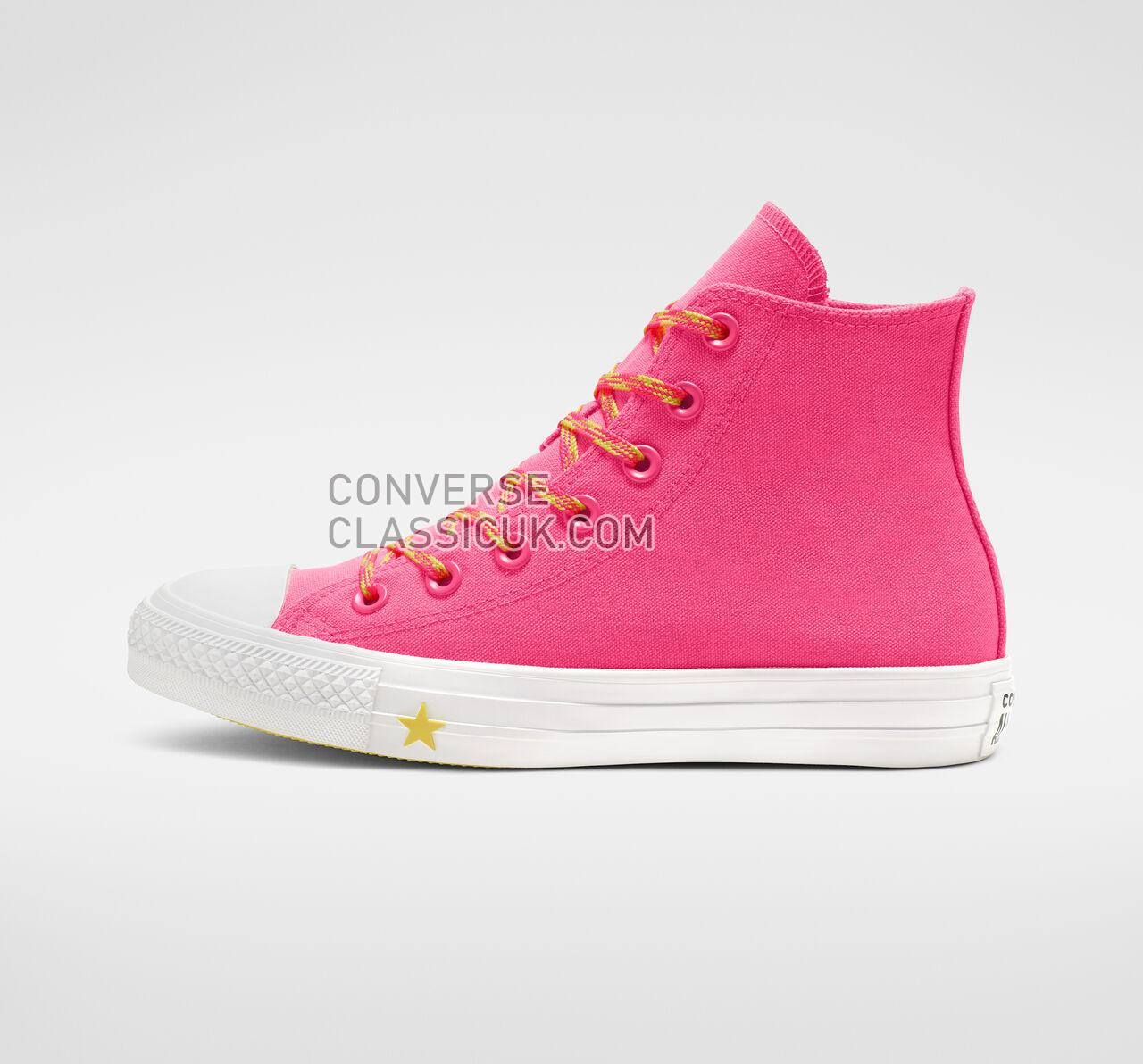 Converse Chuck Taylor All Star Glow Up High Top Womens 564122C Racer Pink/Fresh Yellow/White Shoes