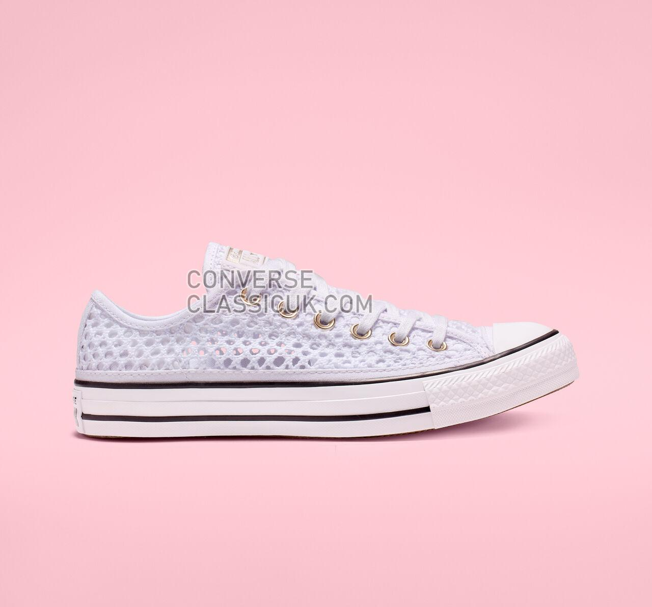 Converse Chuck Taylor All Star Crochet Low Top Womens 565495C White/Black/White Shoes
