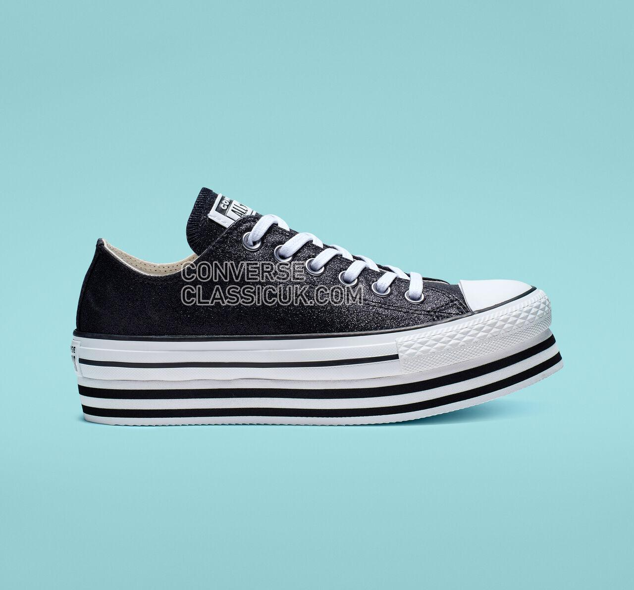 Converse Chuck Taylor All Star Shiny Metal Platform Low Top Womens 564877C Black/Black/White Shoes