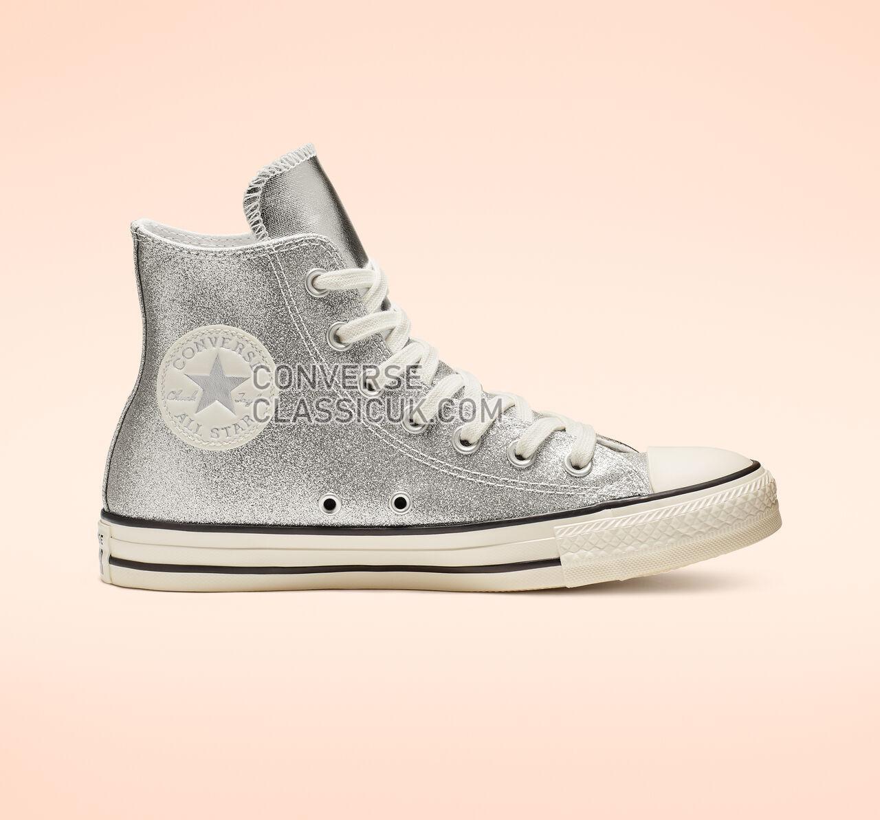 Converse Chuck Taylor All Star Shiny Metal High Top Womens 564869C Silver/Egret/Black Shoes
