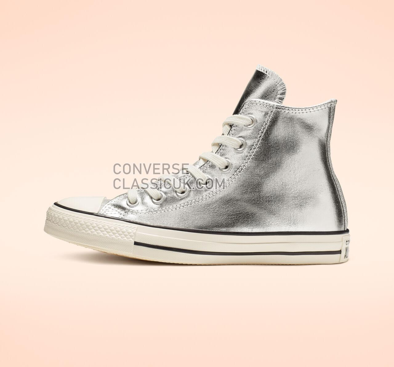 Converse Chuck Taylor All Star Shiny Metal High Top Womens 564869C Silver/Egret/Black Shoes