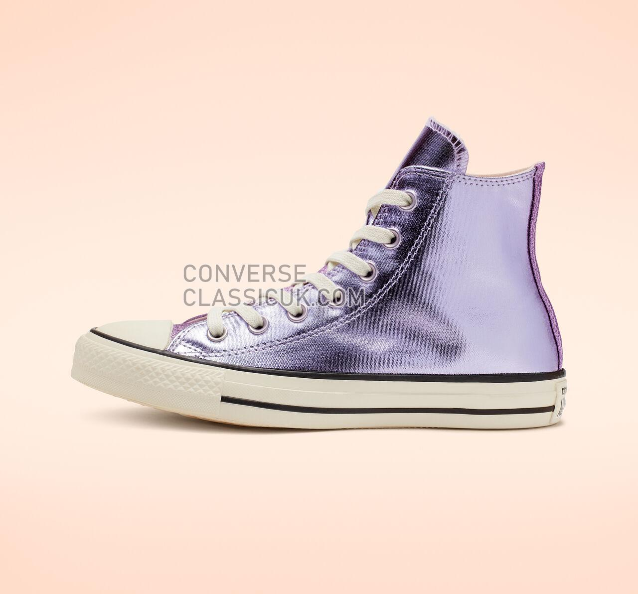 Converse Chuck Taylor All Star Shiny Metal High Top Womens 564852C Oxygen Purple/Egret/Black Shoes