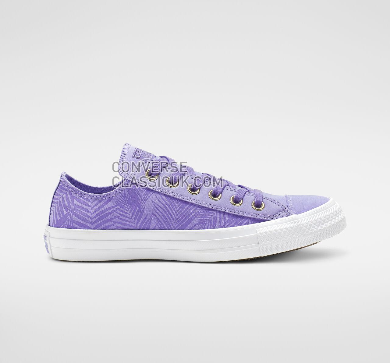 Converse Chuck Taylor All Star Summer Palms Low Top Womens 564114F Wild Lilac/Antique Brass/White Shoes