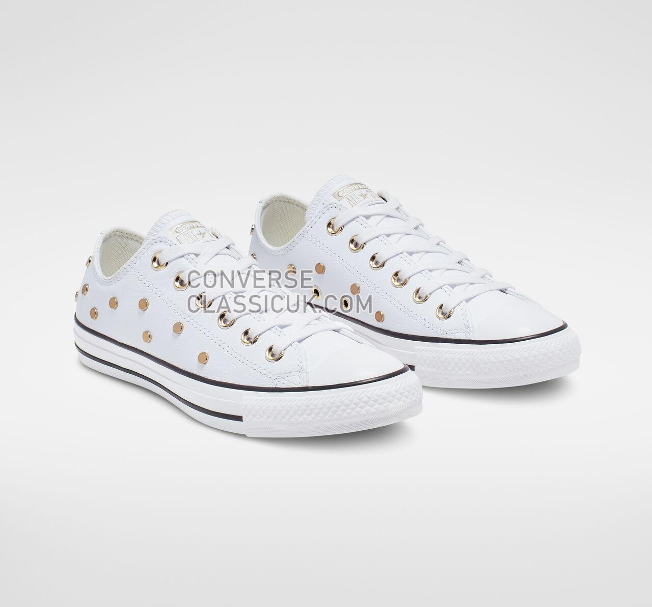 Converse Chuck Taylor All Star Studs Low Top Womens 565850C White/Light Gold/Black Shoes