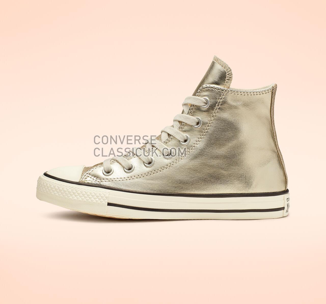 Converse Chuck Taylor All Star Shiny Metal High Top Womens 564851C Light Gold/Egret/Black Shoes