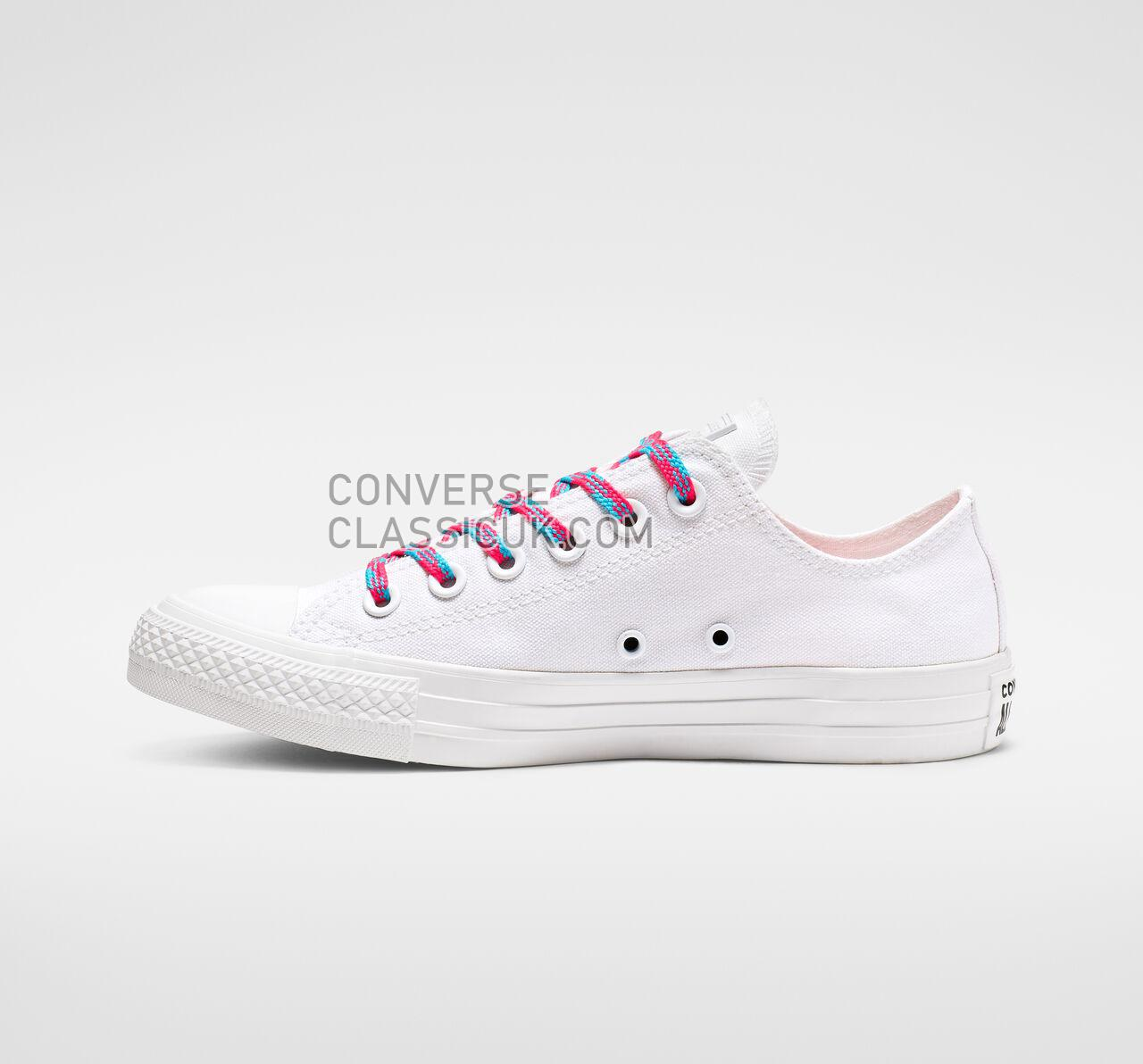 Converse Chuck Taylor All Star Glow Up Low Top Womens 564117C White/Racer Pink/Gnarly Blue Shoes