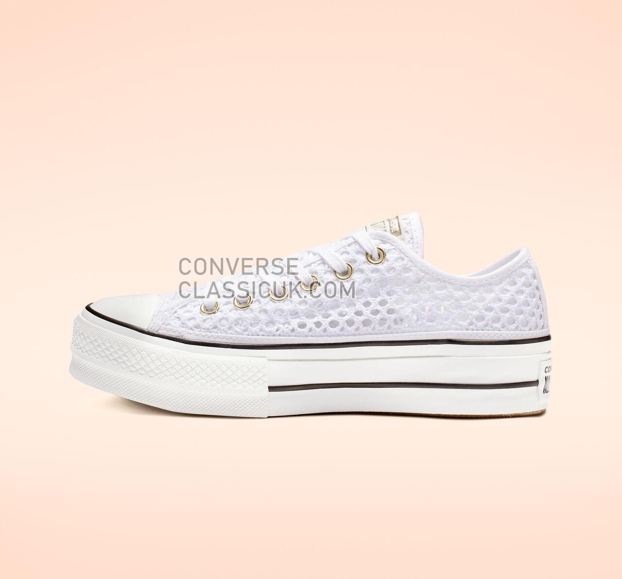 Converse Chuck Taylor All Star Crochet Platform Low Top Womens 564873C White/White/Black Shoes