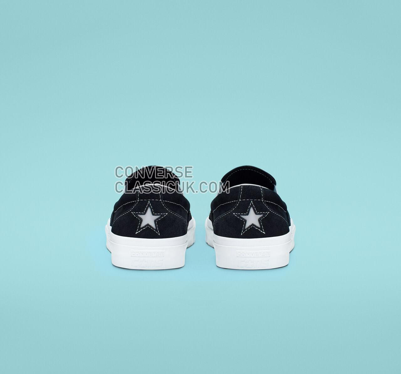 Converse One Star CC Pro Suede Slip Mens Womens Unisex 160545C Black/White/White Shoes