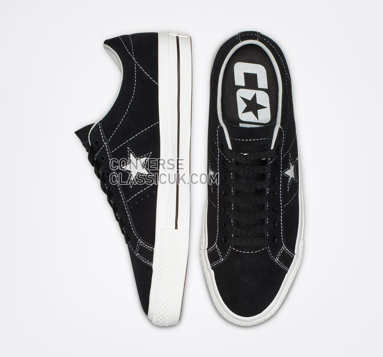 Converse One Star Pro Classic Suede Low Top Mens Womens Unisex 159579C Black/White/White Shoes